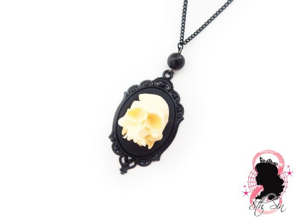Gunmetal Black Human Skull Cameo Necklace